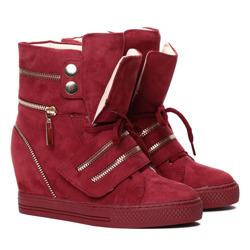 436ed25b9ad64 Bordowe sneakersy na krytym koturnie z suwakami Erica- Obuwie - Złoty     Bordowy   Royalfashion.pl - sklep z butami online