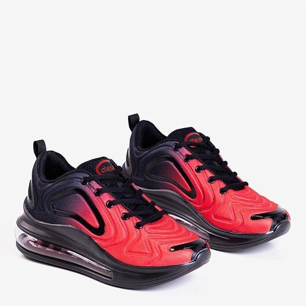 Czarno - czerwone sportowe buty damskie z przezroczystą podeszwą Fusion - Obuwie