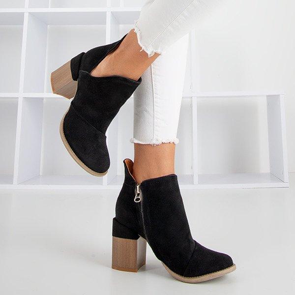 Czarne damskie botki na słupku z wycięciami Cintura - Obuwie